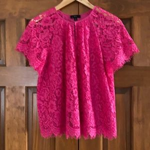 NWT JCrew women's lace top small pink